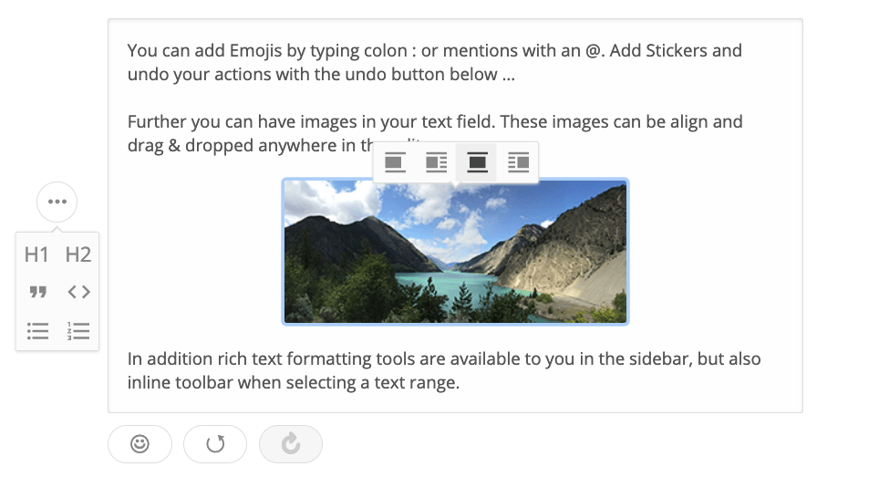 Screenshot of a rich text editor built with Draft.js Plugins. Visible features: image alignment, image selection, emojis, and more