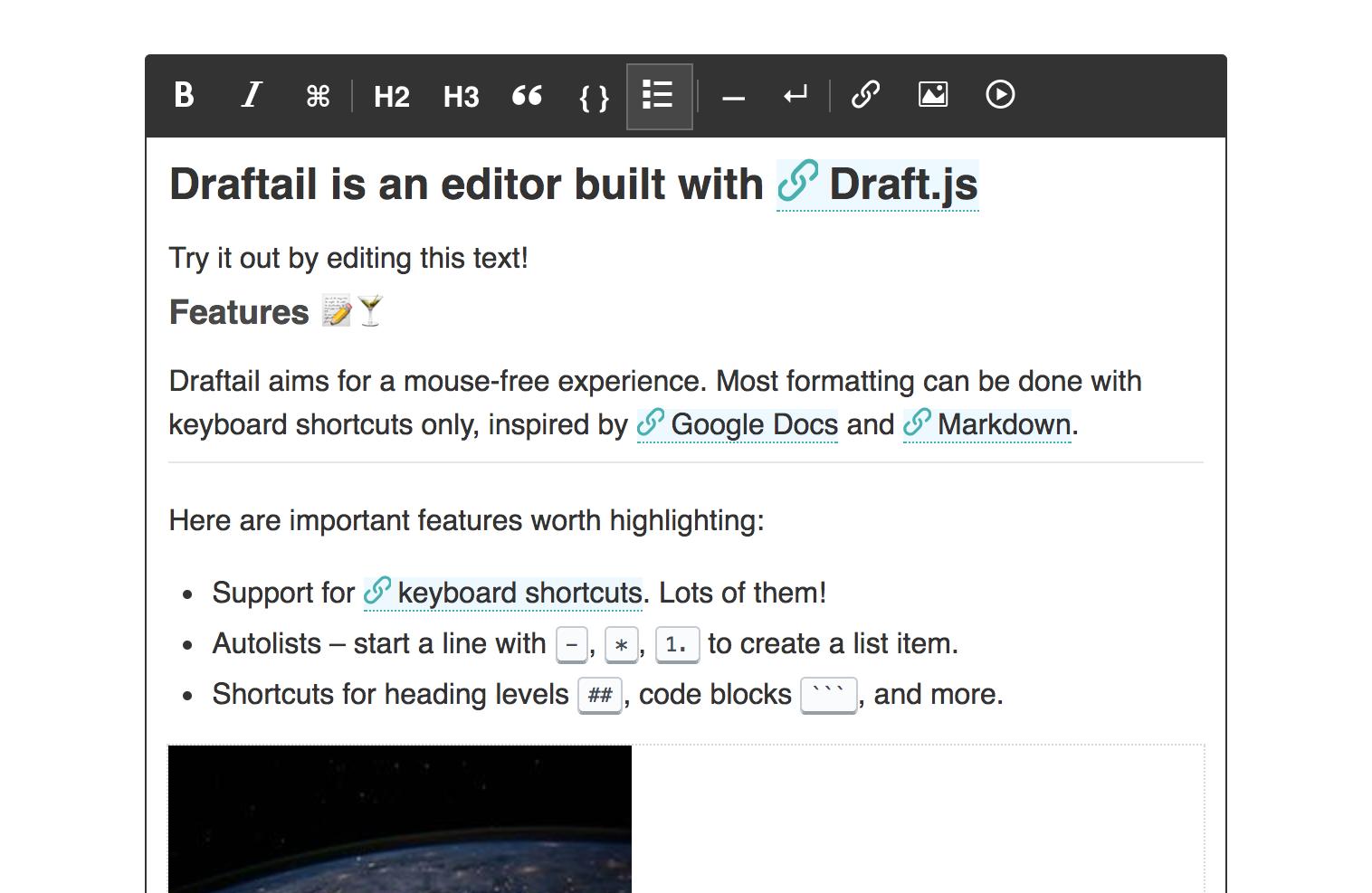 User guide · Draftail